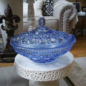 GORGEOUS Blue VINTAGE Glass COVERED Candy DISH
